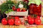pic of crate  - Raw red Tomatoes and dill in crate - JPG