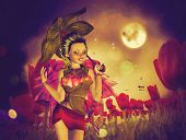 picture of night-blooming  - Dream fairy in fantasy land with bright red tulips at night time - JPG