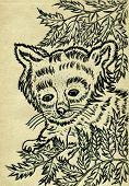 image of pandas  - Grunge sketch of a cute red panda hand drawn illustration - JPG