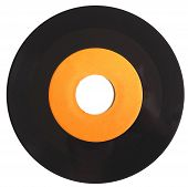 foto of analogy  - Vinyl record vintage analog music recording medium with orange label isolated over white