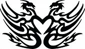stock photo of creatures  - Dragon Dragons Love Heart Tribal Creature Mythology - JPG
