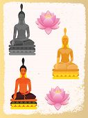 stock photo of buddha  - Lotus Flower and Buddha painted in different flowers - JPG