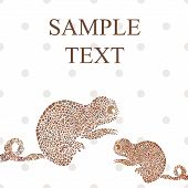 stock photo of chameleon  - Abstract funny chameleon cartoon vector illustration text - JPG