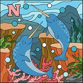 picture of letter n  - Color alphabet for children - JPG