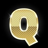 picture of glitz  - Vector metal gold letter Q - JPG