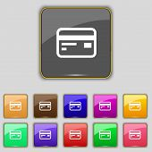 stock photo of debit card  - Credit debit card icon sign - JPG