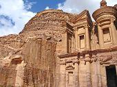 pic of petra jordan  - Monastery at Petra surounded by mountains in Jordan - JPG