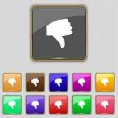 stock photo of dislike  - Dislike Thumb down icon sign - JPG