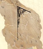 picture of sundial  - ancient sundial on wall of medieval building - JPG