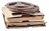 picture of magnetic tape  - Old vintage bobbins with magnetic tapes on a white background - JPG