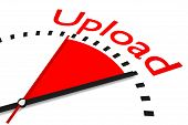 picture of upstream  - clock red area upload speed illustration 3d - JPG