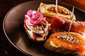stock photo of piquillo pepper  - Tapas on Crusty Bread - JPG