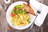 pic of scrambled eggs  - scrambled egg with salad and toast - JPG