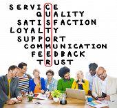 stock photo of scrabble  - Customer Service Quality Satisfaction Crossword Puzzle Concept - JPG