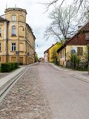pic of old stone fence  - old historical buildings in old town of Kuldiga Latvia - JPG