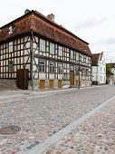 foto of old stone fence  - old historical buildings in old town of Kuldiga Latvia - JPG
