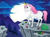 stock photo of unicorn  - Night scenery with unicorn  - JPG