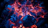 stock photo of ember  - Red hot embers burning inside a brazier - JPG