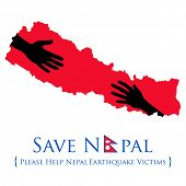 stock photo of nepali  - illustration of Nepal earthquake 2015 help and donation - JPG