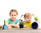 picture of little sister  - Two little sisters are engaged in gardening - JPG