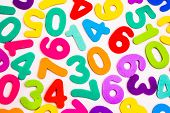 pic of zero  - Mixed single digit numbers from one to nine inluding zero in many vibrant and bright colours - JPG