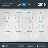 image of monday  - Calendar 2016 Vector Design Template - JPG