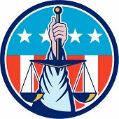 image of scales justice  - Illustration of a hand holding scales of justice viewed from front set inside circle with usa stars and stripes in the background done in retro style - JPG