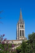 foto of bordeaux  - the bell tower of the monolithic church in Saint Emilion Bordeaux France - JPG