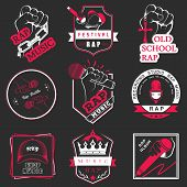 picture of music symbol  - Set of vector badges of rock music and rap classical music electronic music and disco - JPG