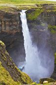 stock photo of waterfalls  - Spectacular waterfall Hayfoss in Iceland - JPG