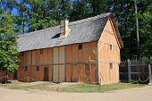 stock photo of stockade  - traditional building in Jamestown in Virginia - JPG