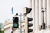 stock photo of homogeneous  - Traffic light Vienna for more tolerance stoplight with same - JPG
