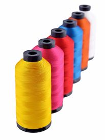 stock photo of rayon  - Spools of threads isolated on a white background - JPG