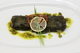 pic of flounder  - Stuffed flounder grape leaves served in a white plate - JPG