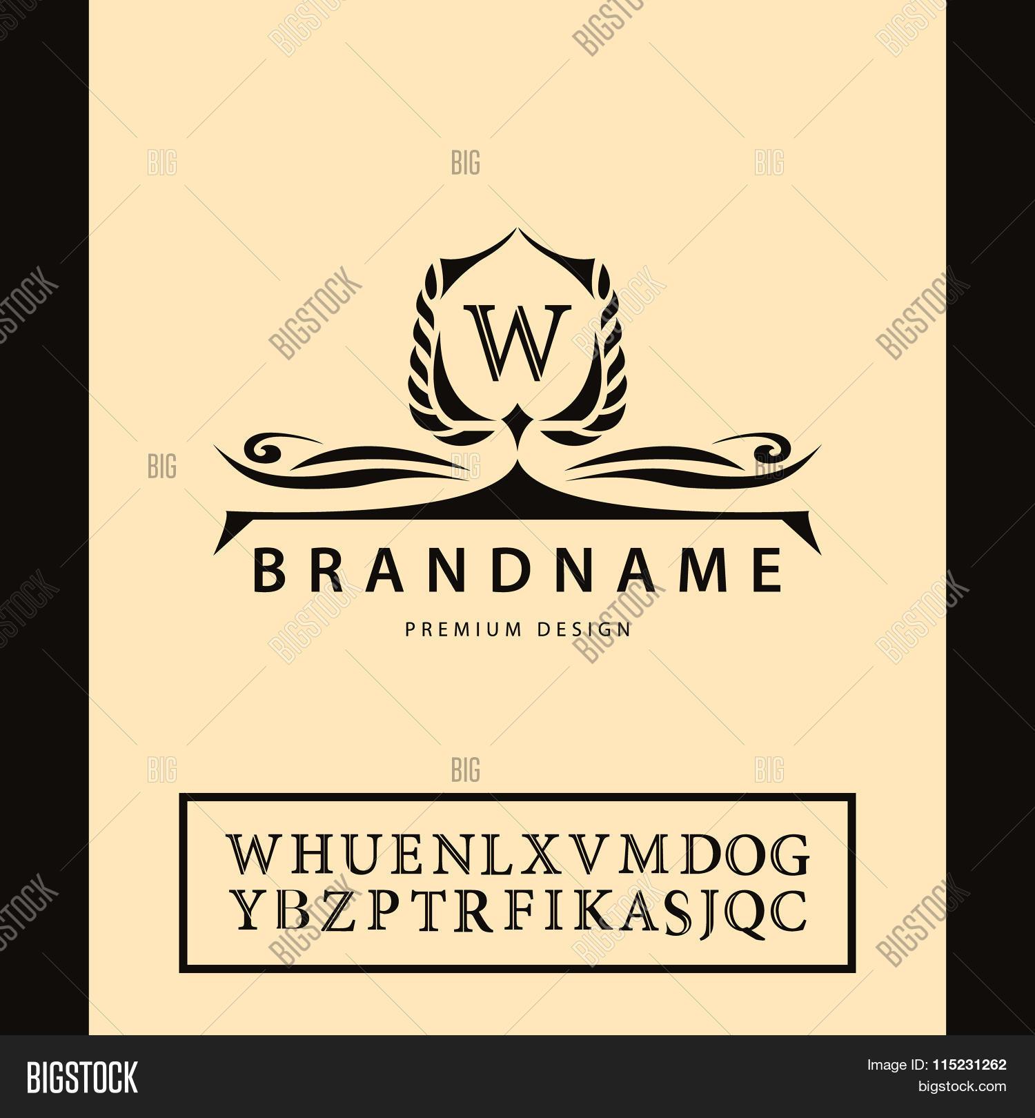 business sign label letter emblem w for badge crest