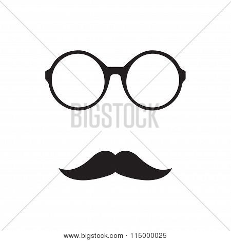 Glasses with mustache icon on white background. Vintage design. Vector illustration.