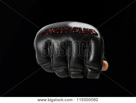 Black Glove For The Martial Arts, With  Inscription