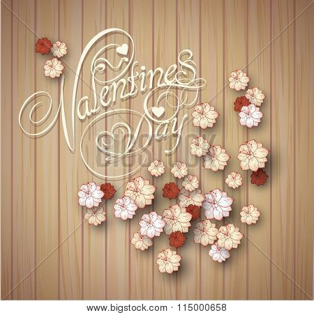 valentine's day background. Greeting Card. Rose petals on wooden texture.