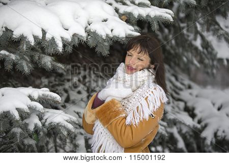 Girl About Snowy Spruce