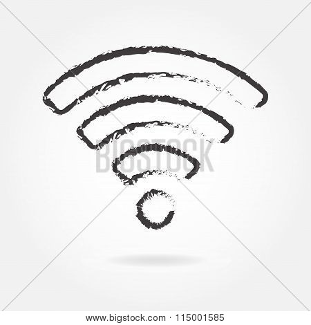 Wireless and wifi icon or sign for remote internet access. Podcast vector symbol. Hand drawn style.
