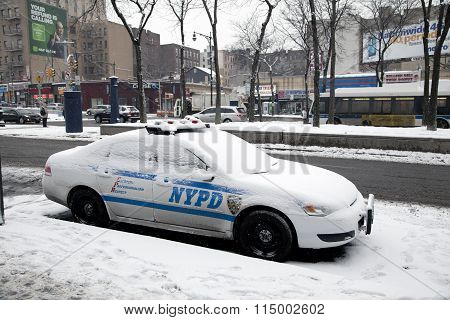 Police Car With Snow