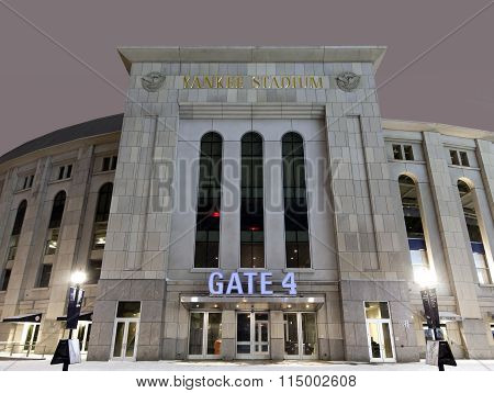 Yankee Stadium At Night In Winter