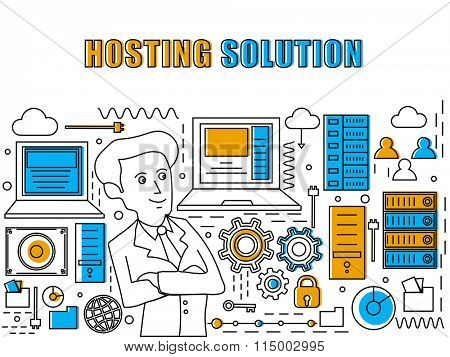 Hosting Solution concept with illustration of a Businessman, digital devices and infographic elements on grey background.