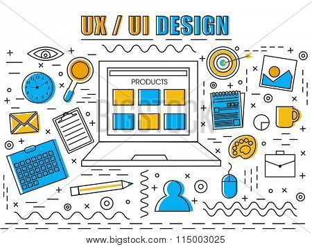 Creative User Experience and User Interface design Infographic elements with digital devices for Business concept.