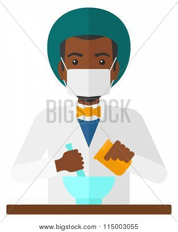 Pharmacist preparing medicine.