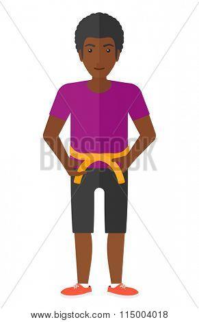 Man measuring waist.