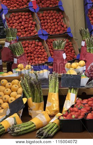 Fruit And Vegetable Stall With Asparagus And Strawberries