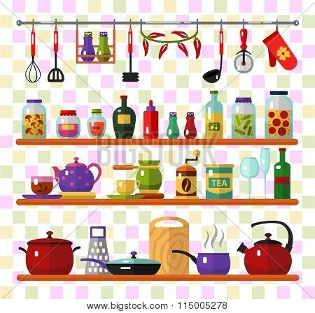 Kitchen utensils and food