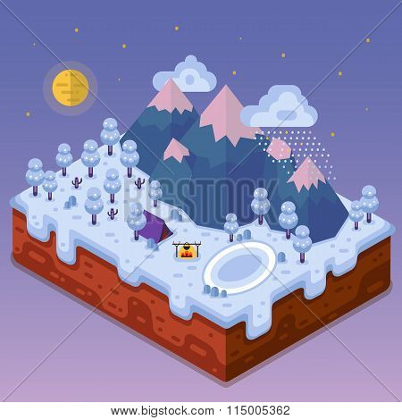Isometric night winter landscape