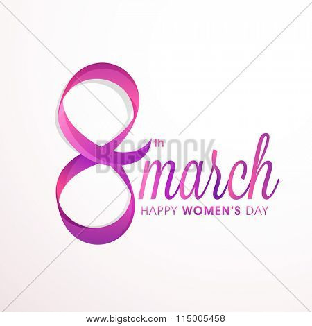Stylish text 8 March made by glossy ribbon for Happy International Women's Day celebration.